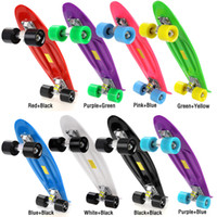 tablas de skate completos al por mayor-Skateboard Wheels 22 inch Classic Retro Cruiser Style Skateboard Complete Deck Plastic Mini Skate Board 8 colores
