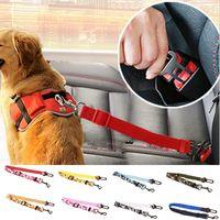 ingrosso imbracatura di cintura di sicurezza per i cani-Cintura di sicurezza per cani regolabile Cintura di sicurezza per animali domestici Nylon Piombo Guinzaglio per cani Cintura di sicurezza per animali Cintura di sicurezza 17 colori