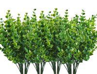 ingrosso falsi piani per ufficio-Cespugli di arbusti artificiali, foglie di eucalipto di plastica Piante verdi finte Matrimonio Indoor Outdoor Giardino domestico Verandah Kitchen Office
