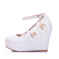 Wholesale white bridal wedge heels - Woman White Wedding Shoes High Heel Bridal Shoes For Woman Pumps Fashion Design Flower Lace Bridesmaid Shoes