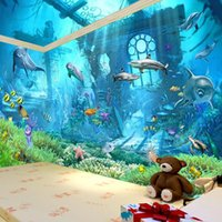 murales de pared bajo el agua para al por mayor-Underwater World Mural 3d Wallpaper Televisión Kid Exquisite Room Dormitorio Ocean Cartoon Background Sticker de pared Easy Carry 22dya cc
