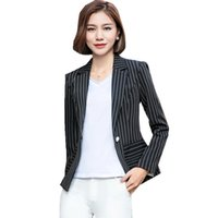 Wholesale Plus Size Office Jackets - 2018 5XL Plus Size Women Blazer Jacket Stripe Full Sleeve Office Ladies Business Blazer Mujer ow0421