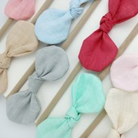boutique bows for girls 2018 - Handmade Boutique Nylon Headband with Fabric Bow for Baby Girls Hair Accessories Hair Flowers Head Band Wholesales