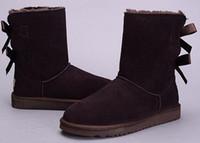 winterschuhe hohe knie großhandel-Winter Australia Classic Schnee UGG Stiefel Hohe Qualität hohe Stiefel aus echtem Leder Bailey Bowknot Damen Bailey Bogen Knie Stiefel Schuhe