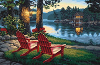 Wholesale Lake Landscapes Paintings - Landscape 5D DIY Diamond Painted Spot Drill Cross Stitch Lake With The Hut Hanging Wall Decoration Painting