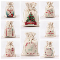 Wholesale design santa - Christmas Gift Bag Pure Cotton Canvas Drawstring Sock Bags With Xmas Santa Design For Gifts Candy Gift Package Bags CCA10079 500pcs