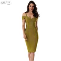 vestido verde azeitona bandage venda por atacado-2018 mulheres vestido de primavera bandage dress verde-oliva do ombro na altura do joelho-comprimento impressionante celebridade baile sexy bodycon