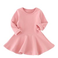 Wholesale Long Line Dress Watermelon - Baby Girl Solid Cotton Dress Fashion Long Sleeve A-Line Ruffles Dresses Spring Autumn Infant Soft Clothes Newborn Baby Party Dresses
