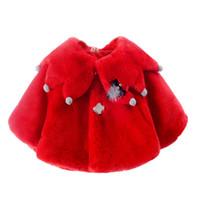 ponchos ropa exterior al por mayor-Nueva capa de las muchachas del bebé de piel sintética Ponchos Y Capas Prendas de abrigo Invierno Otoño 6M-2 ropa de tamaño antiguo 7BT024
