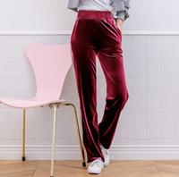 yeni moda kış kadın pantolonu toptan satış-Kadife Pantolon Tasarımcı Yeni Sonbahar Kış Geniş Bacak Moda Kadın Pantolon