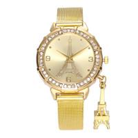 Wholesale stainless steel mesh watch straps - Top Luxury Lady Dress Watch Eiffel Tower Bracelet Strap Women Wristwatch With Full Diamond Mesh Belt Fashion Lady Quartz Watch