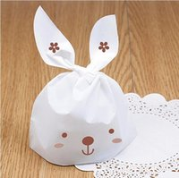 package cookies for cute 2018 - Wedding Cake Box Cute Plastic Bag Gift Bag Rabbit Ear Biscuit Candy Bags for Party Food Cookie Packaging GA24