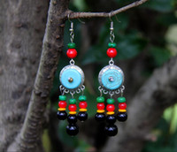 Wholesale jewelry palace china for sale - Group buy National style jewelry tassel earrings retro handmade turquoise earrings exaggerated drops of the palace original jewelry female models