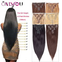 Wholesale clip human hair extensions 8pcs online - Newest Brazilian Virgin Straight Human Hair Clip In Extensions set inch Full Head Body Wave Nature Clip in Human Hair Extensions