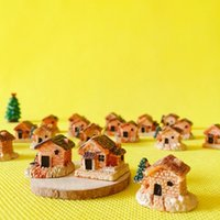 Wholesale fairy garden cottage - 21 pcs mini house little trees miniatures cottage shabby  cute  fairy garden gnome moss terrarium home decor crafts supplies