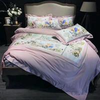 ingrosso fogli piani di stampa animale-2018 tessili per la casa alta quailty di lusso olio stampa re regina dimensioni 220240 cm biancheria da letto di marca set rosa copripiumino lamiera piana federe