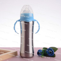 nippel milchflasche großhandel-DHL 8 Unzen Edelstahl Babyflasche Babyflasche Neugeborenen Milchflaschen Kunststoffgriff Nippel Stroh Tasse 240ml
