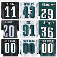 jerseys baratos equipos de fútbol al por mayor-Venta caliente 2018 Philadelphia Carson Wentz Eagles camiseta Fletcher Cox Darren Sproles camisetas de fútbol americano elite para mujer fábrica equipo barato
