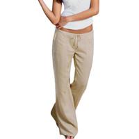 frauen polyester fleece hose großhandel-Frauen-hohe Taillen-elastische Polyester-Leinenhose-weibliche gerade zufällige Hosen lösen lange breite Bein-Hose S18101606