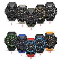 цвета военной армии оптовых-Мужчины военные часы камуфляж армия водонепроницаемый наручные часы Кварцевые часы спортивные часы Спорт шок часы 10 цветов OOA5081