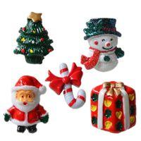 baston aksesuarları toptan satış-15 adet Noel Reçine Kardan Adam Noel Baba Noel Ağacı Şeker Kamışı Minyatür Süsler Ev Dekorasyon DIY Aksesuarları Y18102909