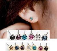 Wholesale ear cartilage studs - Silver gold plating steel 5mm birthstone bezel ear stud earring studs tragus cartilage piercing earrings for babies kids girls women