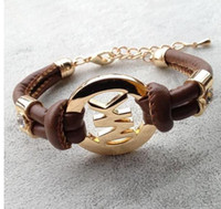 Wholesale men's bracelets online - New fashion accessories handmade retro PU leather bracelet men s ladies fashion bracelet men and women jewelry TO270