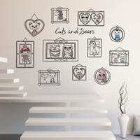 desenhos animados da coruja venda por atacado-Animais dos desenhos animados Da Coruja Photo Frame Wall Art Adesivo de Parede Quarto de Crianças Quarto Home Decor Autocollant Mural