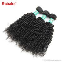 dalgalı saç uzatma atkıları toptan satış-3/4 adet çok Insan Saç Demetleri Rabake Afro Kinky Kıvırcık Perulu saç Uzantıları Dalgalı Örgü Çift Atkılar Siyah Kadınlar için Ucuz Fırsatlar