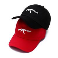 Wholesale Top Hat White - top selling Uzi Gun Baseball Cap US Fashion 2018 Ak47 Snapback Hip hop Cap Curve visor 6 panel Hat casquette de marque