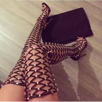 Wholesale long sandal heel resale online - Ladies Studded Thigh High Sandals Rivets Women Summer Gladiator Sandal Boots High heel Net Cut Out Spinal Over Knee Long botas Thin Heels