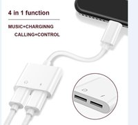 Wholesale iphone audio adapter cable - 2 in 1 Dual For Lightning to Headphone Audio Charger Adapter Connectors Cable For iPhone 7 8 X Plus Charging Musicfor samsung S9 S9 plus