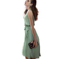klasik kadın külotları kadınlar toptan satış-Rahat Yaz Klasik Pileli Kadınlar Şifon Elbise Kısa Tarzı Zarif Kolsuz Elbiseler E465