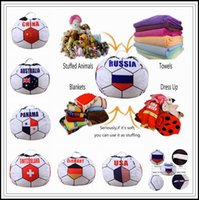 Wholesale Baby Stuffs - 26 inch Russian World Cup Storage Bean Bag Baby Stuffed Animal Football World Cup Pouch Bag Organizer Beanbag CCA9444 30pcs