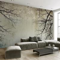 escritorios personalizados al por mayor-Custom 3D Photo Wallpaper Creative Abstract Home Decor Estilo nórdico Tree Branches Sky Papel De Parede Escritorio Mural Wallpaper 3D