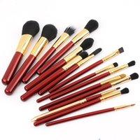 Wholesale red wine powder - 15Pcs wine red make up brushes set Powder Contour Bronzer Eyeshadow Concealer Eyeliner Lip Brush Tool cosmetics brush kits Beauty Tools