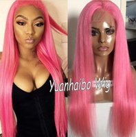 Wholesale Medium Length Straight Hair Wigs - 10A Grade Popular Pink Color Full Lace Wigs 100 Brazilian Virgin Hair Human Hair Lace Front Wigs Free Shipping