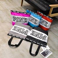 Wholesale China Fashion Handbags - Pink Women Striped Handbags Love Pink One Shoulder Bags Shopping Tote Letters Printing Handbags Travel Beach Fashion Handbag