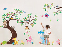 дети обои дерево оптовых-high class monkey tree wall stickers cartoon decals jungle animals wallpaper kids home bedroom nursery decora large pvc mural