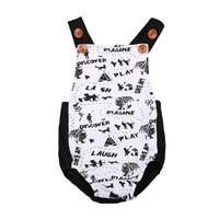 Wholesale painting baby girl resale online - 2018 Newborn Baby Boy Girls Painting Sleeveelss Bodysuit Jumpsuit Outfit Sunsuit Size M