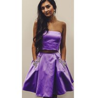 vestidos de fiesta cortos con cuentas lila al por mayor-Vestidos de fiesta cortos de fiesta de dos piezas de color lila con bolsillos con cuentas, vestidos de fiesta cortos para mujeres