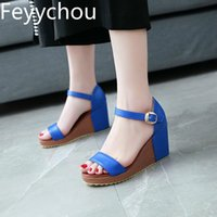 Wholesale blue beach wedding shoes for sale - Group buy Women Sandals Beach Shoes Super High Heel Pu Buckle Wedges Platform Summer New Sexy Fashion Casual Wedding Blue Beige Red