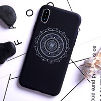 Wholesale flowers india - India Amulet Ancient Flower Phone Case soft black phone shell cover For iPhone 5 6 7 8 8 plus X Samsung case Customized Drop shipping