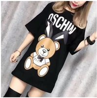 Wholesale relaxed t shirt - Early spring new fashion casual relaxed rabbit ears brand T-shirt bear printed cotton short sleeve breathable.