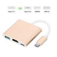 usb otg hub toptan satış-USB3.1 Tip-C 4 K HDMI USB-C Dijital AV Multiport Adaptörü Macbook 12 için HDMI4K OTG USB 3.0 HUB Şarj