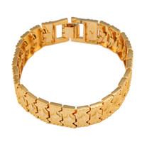 pulsera de latón dorado al por mayor-Nuevas adquisiciones Pulsera etíope Joyería al por mayor Joyas de moda Oro de 24 quilates de color oro para hombres Pulsera