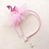 Wholesale pendants lovely pearl for sale - Group buy lovely Glitter girls sequins swan hair sticks girls chiffon flower hair accessories child pearl pendant Headband