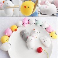 Wholesale kawaii mini - Kawaii Animals Mochi Squishy Stress Toy Relief Animal Squishies Mini Hand Squeeze Squishes Decompression Toy OOA4900