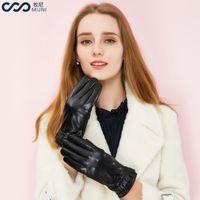 ingrosso guanti di moda invernali in pelle nera-Guanti donna in pelle di pecora Lace Touchscreen Texting Winter Genuine Leather Fashion 2018 Luxury Wrist Driving Elegant Black Gloves