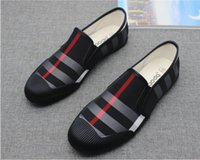 Wholesale dress fabric silk - 2018 Hot sales Brand Black and khaki canvas shoes luxurious brand men loafers black canvas leather insole men's casual shoes men's flat M579
